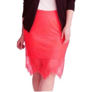 New Torrid Neon Pink Scalloped Lace Pencil Skirt 3